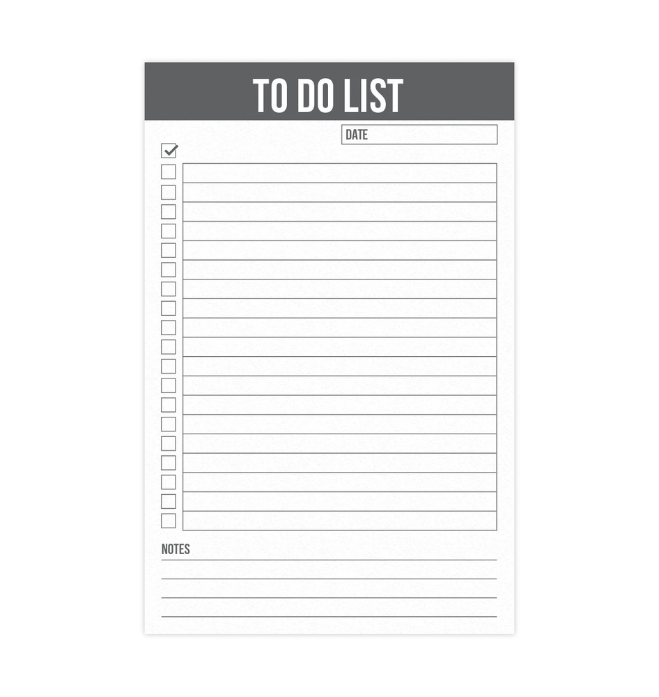 "To Do List Magnetic Notepad 5.5"" x 8.5"" - Grey (50 Sheets)"