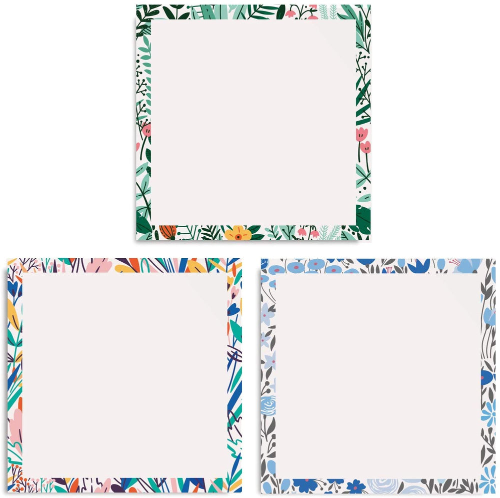 Floral White Sticky Notes (Set of Six Notepads)