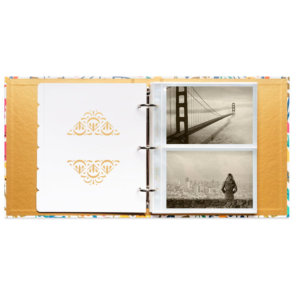 "Photo Album Set - Clear Pocket Sleeves, 6 Tab Dividers, 3-Ring Binder 8.5"" x 9.5"" (Wildflower Bouquet)"