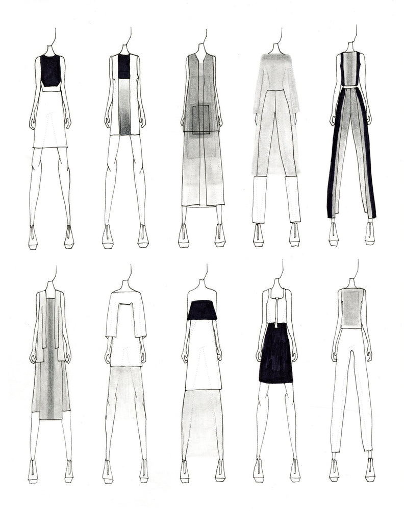 Fashion sketches by Justine W. Lee
