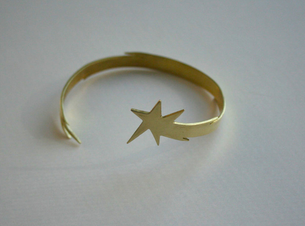 Shooting Star wrist cuff in brass one of a kind design by Right Collection