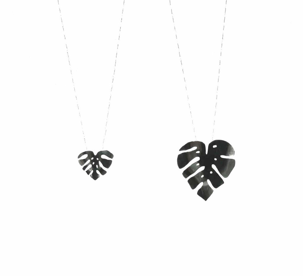 Monstera leaf necklaces in sterling silver