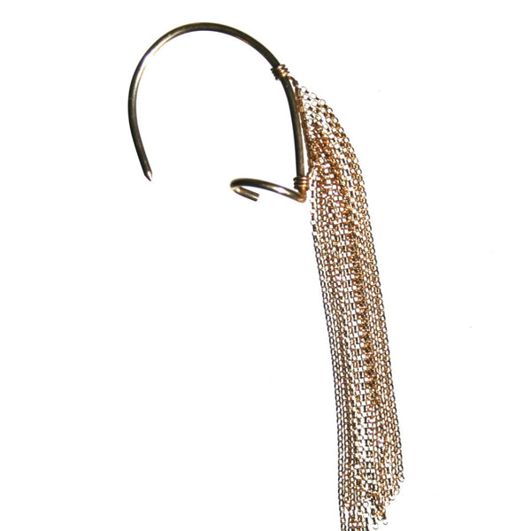Fringe ear cuff in yellow gold