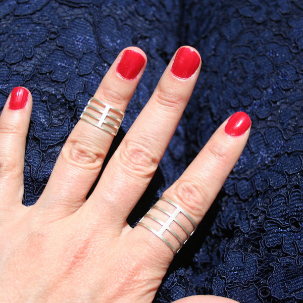 Stripe midi ring :: three stripes of sterling silver punctuated by a midline. Bold.