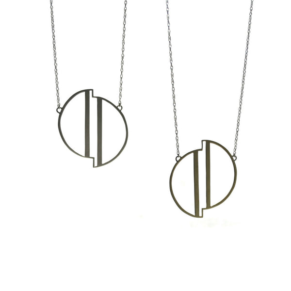 New Moon necklace in a geometric design