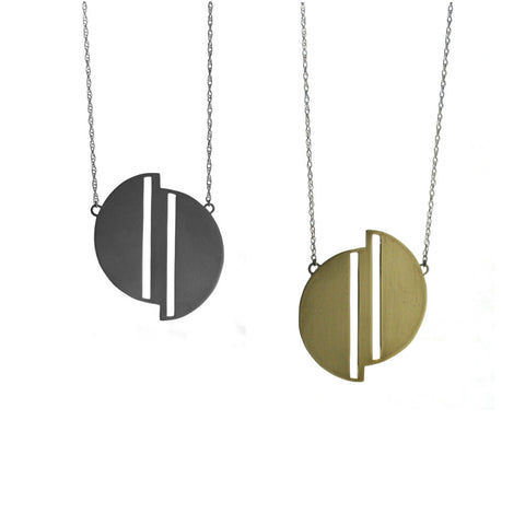 Full Moon necklace in geometric modern design