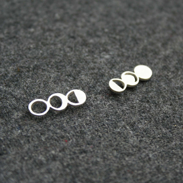 Moon Phases earring asymmetrical design by Right Collection