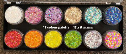 Fairy Snuff glitter paste combo palette Essential/Brights 12 x 6gm