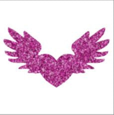 Glitter tattoo stencils - Heart with wings - 5pcs