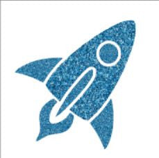 Glitter tattoo stencils - Rocket ship - 5pcs