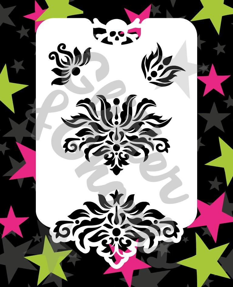 Glitter and ghouls stencil - Damask and edge plus