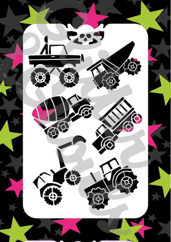 Glitter and ghouls stencil - Trucks