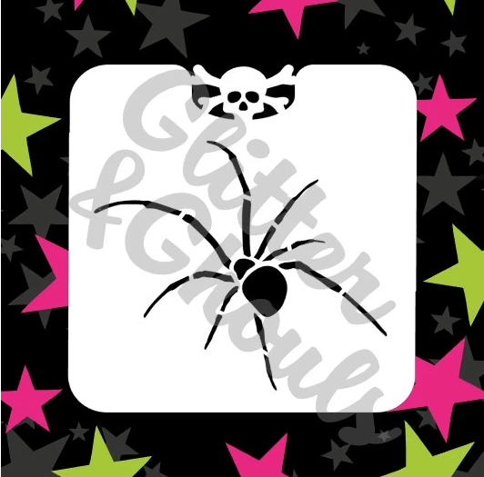Glitter and ghouls mini stencil - Spider