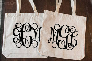 Personalized 3 Letter Monogram Canvas Tote Bag