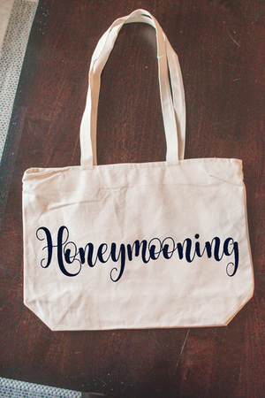"""Honeymooning"" Custom Beach Tote Bag for Bride"