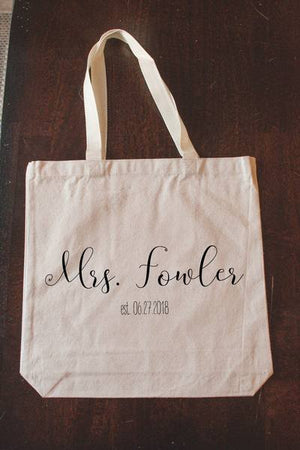 """Mrs."" Personalized Canvas Bridal Tote Bag"