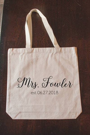 """Mrs."" Tote Bag Engagement Gift"