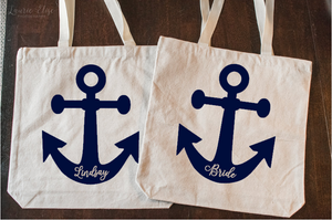 Nautical Themed Bachelorette Party Tote Personalized with Name or Title