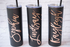 Bachelorette Bridal Party Skinny Tumblers for Bridesmaid Proposal Box
