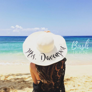 """Mrs."" Personalized Floppy Beach Hat For New Bride"