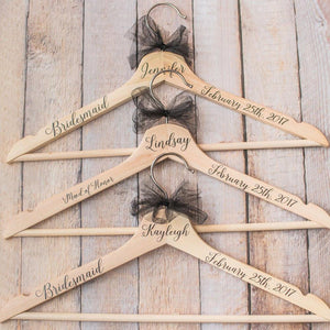 Personalized Bridal Party Hangers with Name, Wedding Date and Title