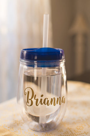 Personalized Colorful Stemless Travel Wine Glass