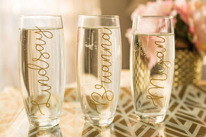 Personalized Bridesmaid Champagne Flute with Bridal Party Names