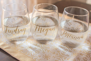 Personalized Wine Stemless Wine Glass for Bridesmaids