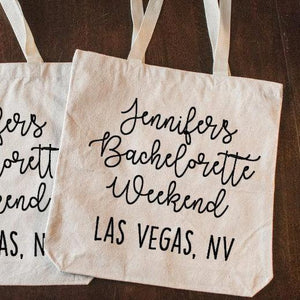 Personalized Bachelorette Party Tote Bag with Date and Location