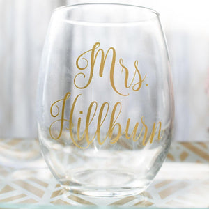 "Personalized ""Mrs."" Stemless Wine Glass"