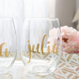 Personalized Bridesmaid Stemless Wine Glass Gift