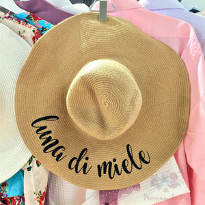 """Luna Di Miele"" Personalized Honeymoon in Italian Floppy Beach Hat"