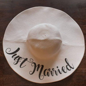 """Just Married"" Floppy Straw Beach Hat"