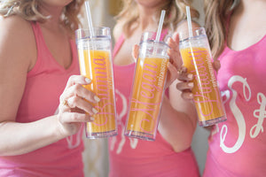 Personalized Bachelorette Party Skinny Tumbler