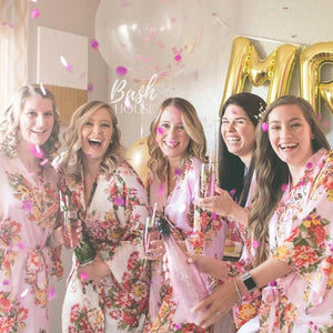 Satin Floral Bridesmaid Robe with Monogram