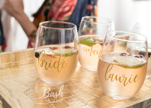 Stemless Bridesmaid Wine Glass for Bridal Party