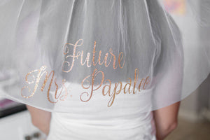 "Future ""Mrs"" Personalized Bachelorette Bridal Veil"