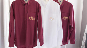Monogrammed Men's Style Comfy Button Down Bridal Party Shirts