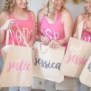 Personalized First Name Bridesmaid Tote Bag
