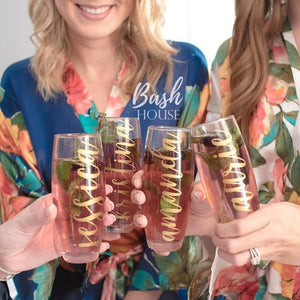 Custom and Personalized Bridesmaid Champagne Flute Gift