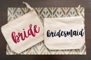 Personalized Cosmetic Bag for Bridal Party or With Name