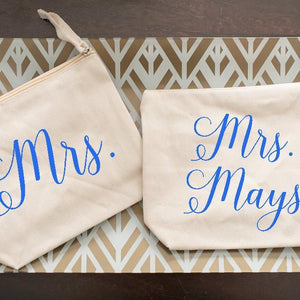"""Mrs."" Personalized Cosmetic Bag for Bride"