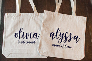 Personalized and Custom Bridesmaid Tote Bag