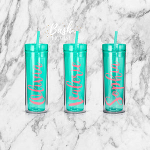Personalized Bridesmaid Name Skinny Tumbler Gift