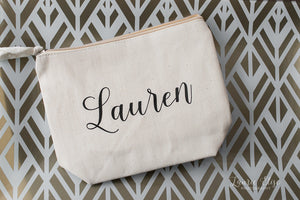 Personalized Bridesmaid Canvas Cosmetic Bag