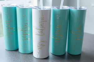 Personalized Bachelorette Party Skinny Tumbler for Bridal Party