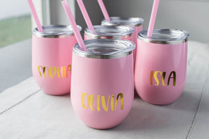 Bachelorette Party Bridal Party Stemless Wine Tumblers