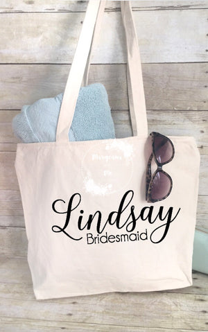 Personalized and Custom Tote Bag with Wedding Party Title and Name