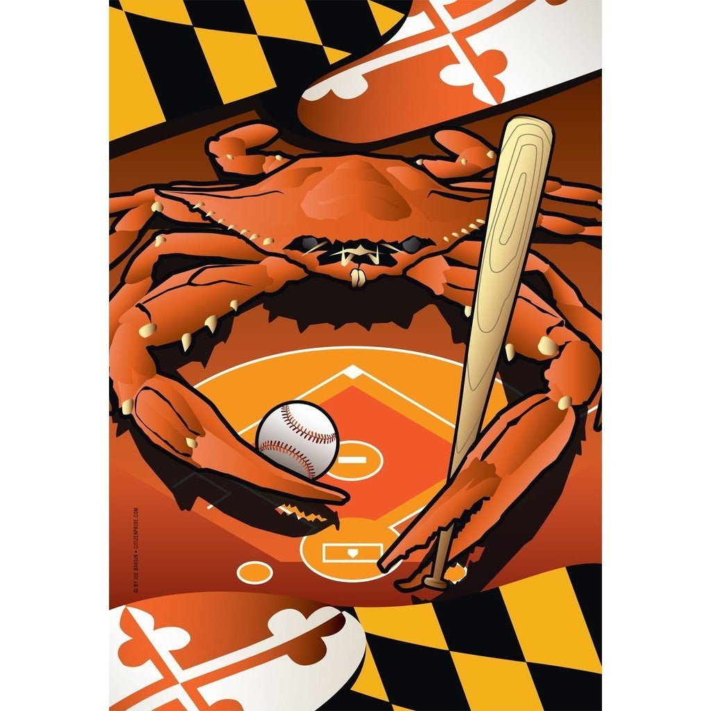 Maryland - Baseball Crab - Garden Flag
