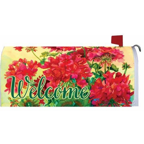Welcome Geraniums Standard Mailbox Cover